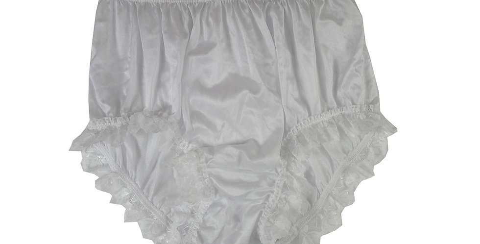 NQH24D03 White New Panties Granny Briefs Nylon Handmade Lace Men