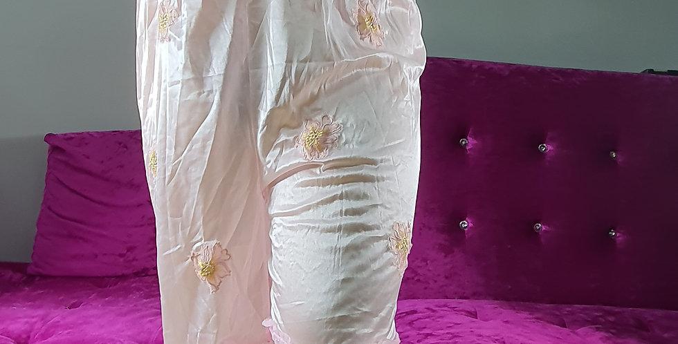 New Pink Bloomer Vintage Pettipants Men Handmade Nylon Slip Floral Lacy NSLSS05