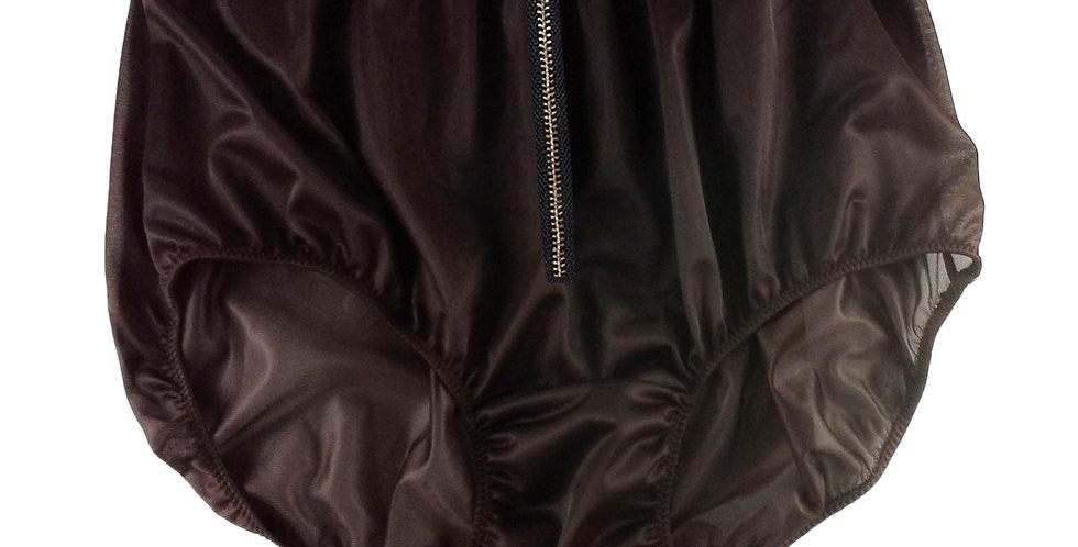 NNH03I03 deep brown Zipper Handmade Panties Lace Women Men Briefs Nylon Knickers