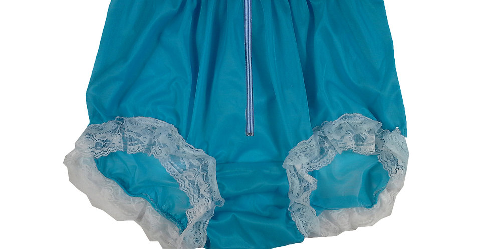 NNH23DP03Light Blue Zipper Handmade Panties Lace Women Men Briefs Nylon Knickers