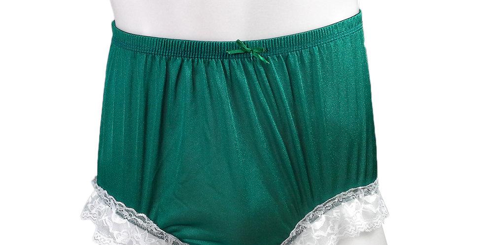 NQH01D02 Green  Panties Granny Briefs Nylon Handmade Lace Men Woman