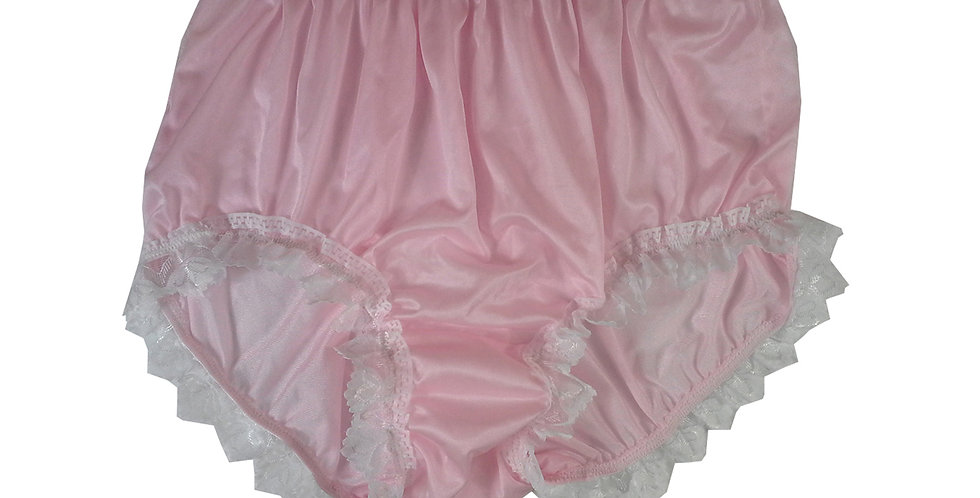 NQH24D06 Fair Pink New Panties Granny Briefs Nylon Handmade Lace Men