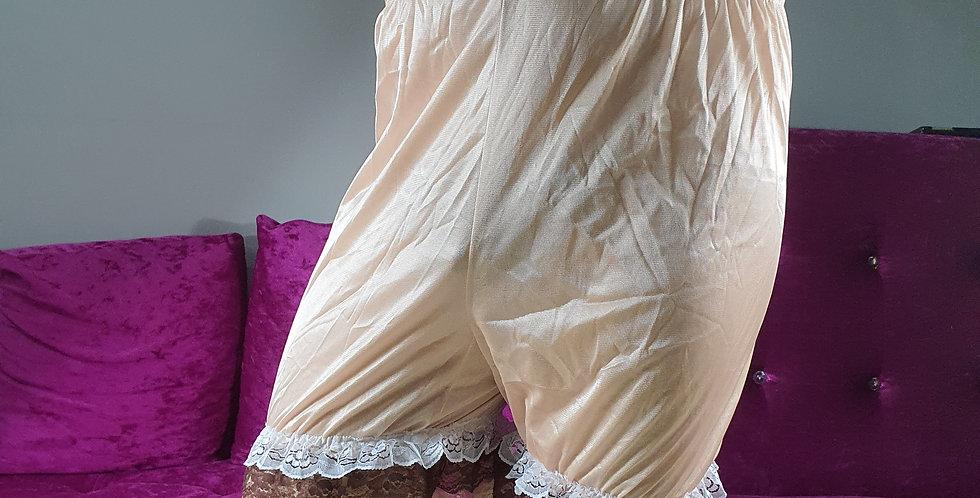 Brown Pettipants Men Underpants Handmade Lingerie Nylon Slip Double Lacy NSLD04