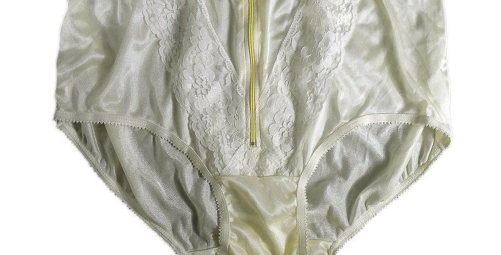 NLH03D02 Yellow Panties Granny Lace Briefs Nylon Handmade  Men Woman