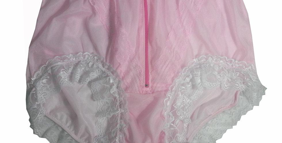 SSH09D02 Pink Handmade Nylon Panties Lace Women Granny Men Briefs