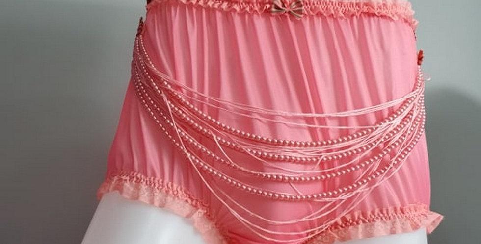 New Sissy Light Pink nylon panty Briefs bead Lacy Men Handmade Knickers NHSPD08