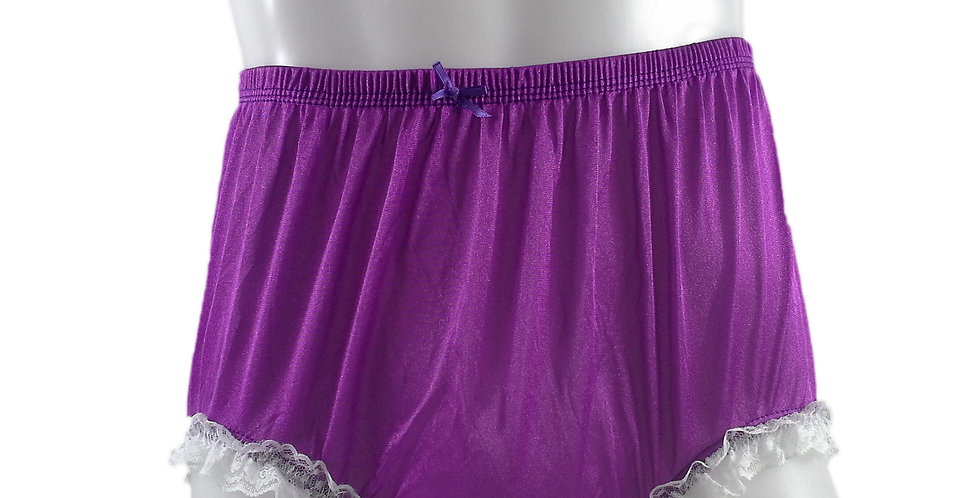 NQH02D09 Light Purple Panties Granny Briefs Nylon Handmade Lace Men Woman