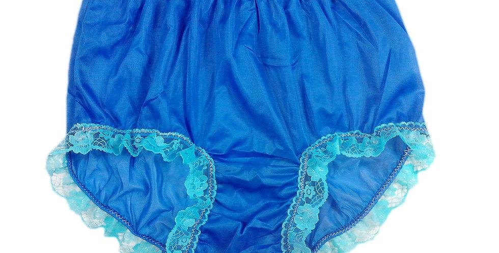 New Royal blue PlusSize Nylon Panties Briefs Men Handmade Pastel Lacy NH30DS02