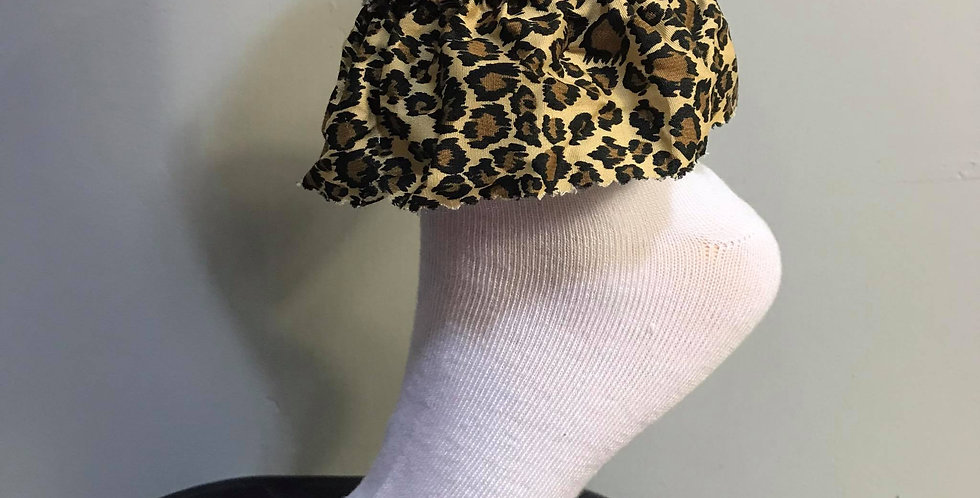 New Sexy Sissy White Socks leopard Party Handmade Nylon Adult Ankle Lacy SOL02