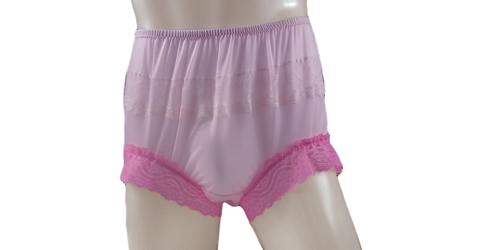 JYH04D01 Fair Pink Handmade Nylon Panties Women Men Lace Knickers Briefs Undies