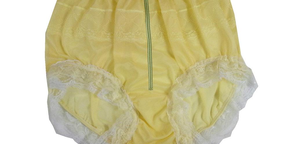 Yellow Zipper Crotch Lingerie Nylon Briefs Mens Panties Lace Trim Cross Dresser