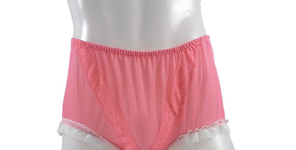 SSH02D06 Light Pink Handmade Nylon Panties Lace Women Granny Men Briefs