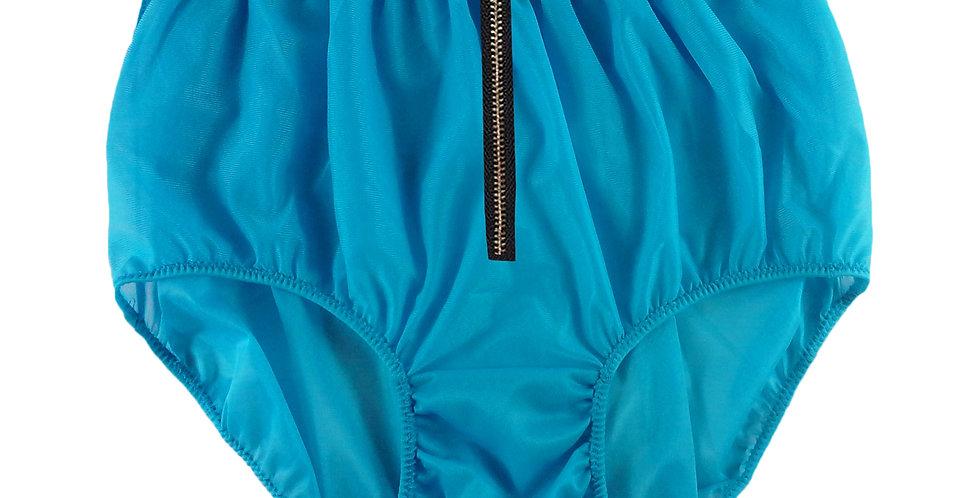 NNH03I10 LIGHT BKUE Zipper Handmade Panties Lace Women Men Briefs Nylon Knickers