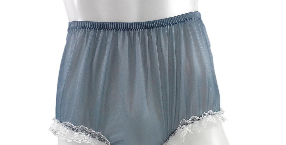 NH02D06 Gray Grey Handmade Panties Lace Women Men Briefs Nylon Knickers Und
