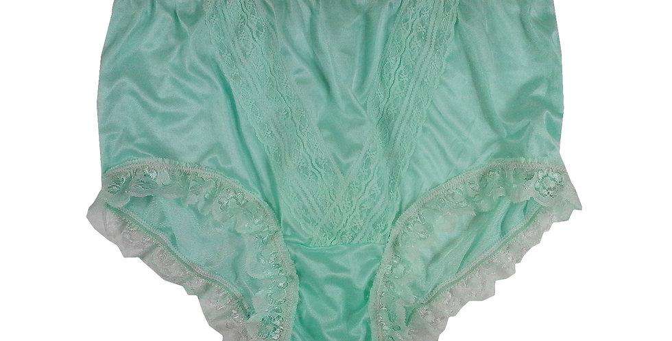 NLH04D03 fair green Panties Granny Lace Briefs Nylon Handmade  Men Woman