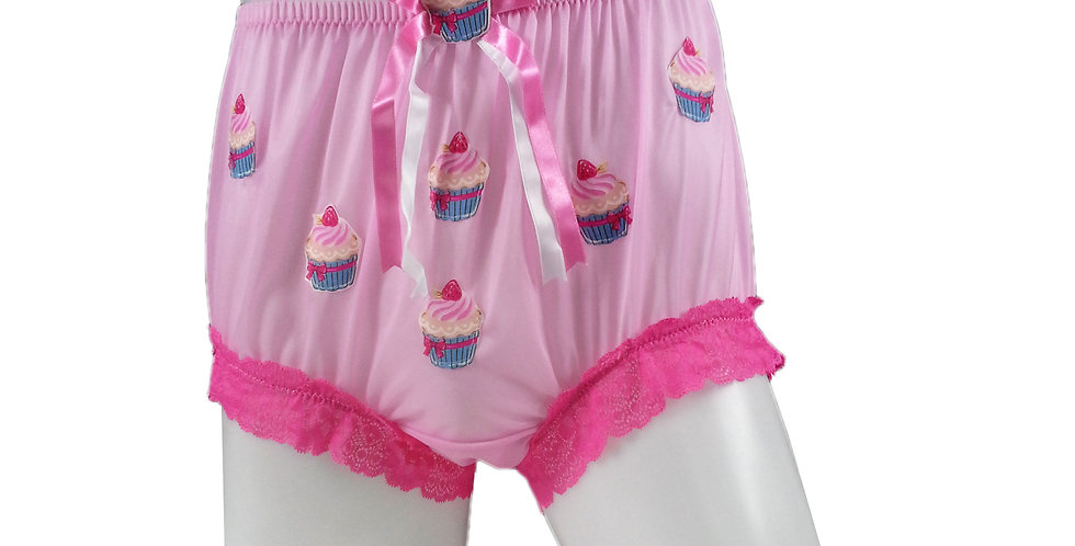 Pink Sew on Cupcake Patch Embroidered Panties Briefs Nylon Handmade Costume
