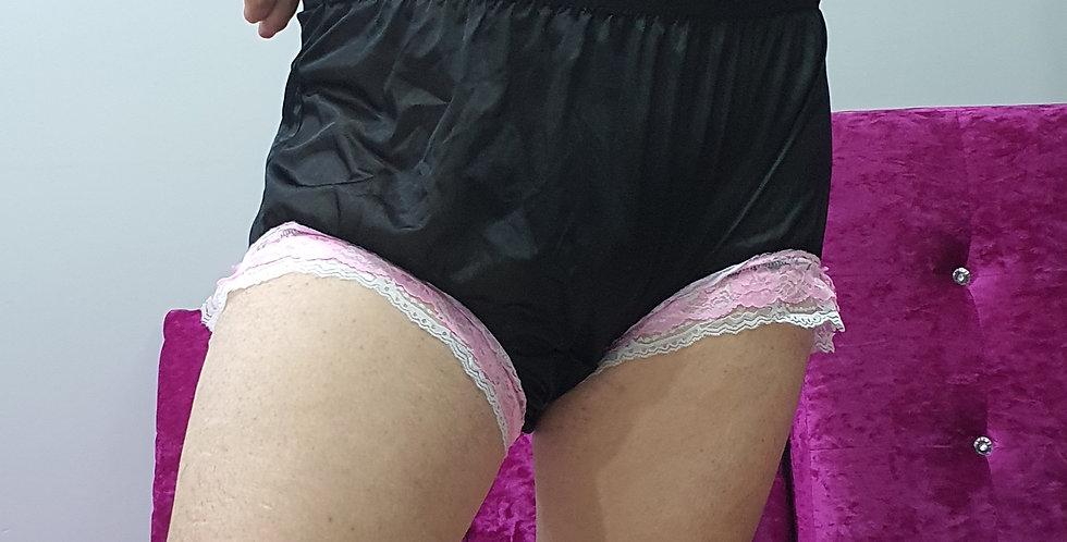 New Black Nylon Briefs Lingerie Men Double Lacy Panties Handmade Knickers RNOL58