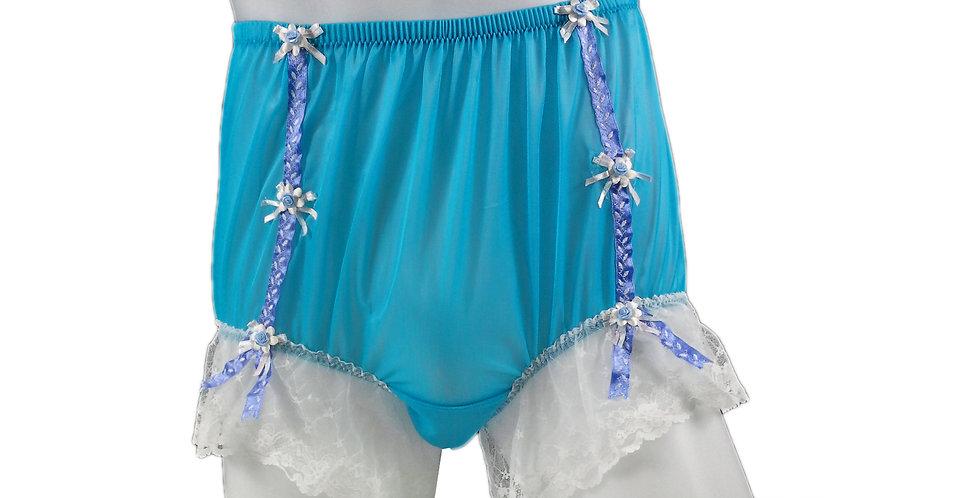 NNH06D18 Light Blue Handmade Panties Lace Women Men Briefs Nylon Knickers