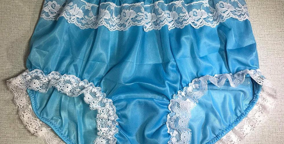 New Light Blue Nylon Pinup Briefs Panel Lace Panties Knickers Men Handmade RTN35
