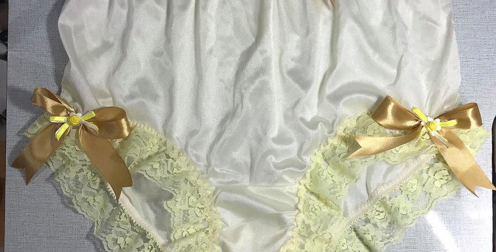 Fair Yellow Panties Hi-Cut Briefs Nylon Handmade Men Knickers Lacy Ribbon RTNY03