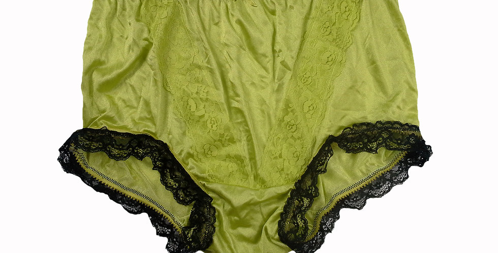 NLH08D13 Lime Green Panties Granny Lace Briefs Nylon Handmade  Men Woman
