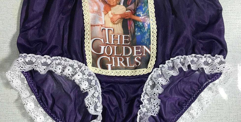 Navy Blue The Golden Girls Granny Briefs Nylon Lacy Panties Men Handmade GG15