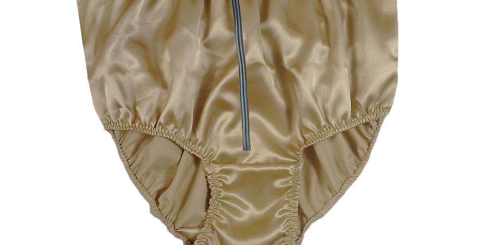 STPH03D07 Gold Brown Zipper New Satin Panties Women Men Briefs Knickers