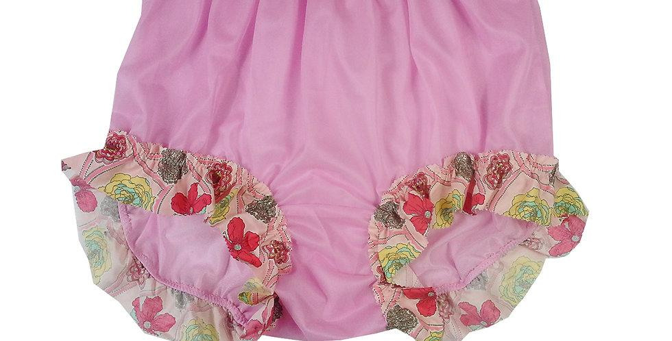 Fair Pink Granny Nylon Panties Knickers Briefs Men Handmade Cotton Lacy NNH27C09