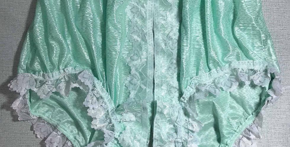 New Fair green Open Front Gusset Nylon Panties Men Briefs Handmade Lacy SFH32D01