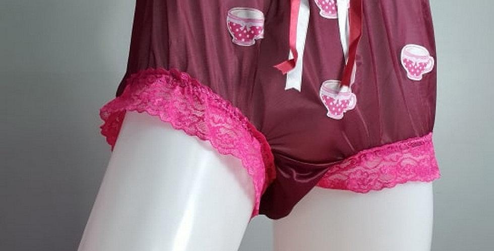 Deep Red nylon knickers Panties Briefs Cupcake Printed Lacy Men Handmade NH38D03