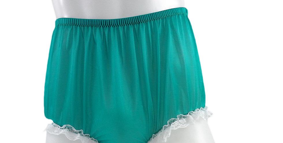 NH02D09 Green Handmade Panties Lace Women Men Briefs Nylon Knickers Und