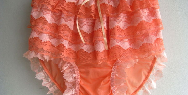 New Orange Nylon Knickers Panties Briefs Handmade Men Ruffle Frilly Lacy NVOD22