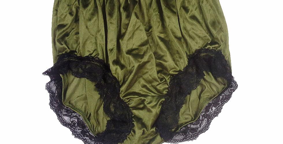 NQH07D02 Olive Green Panties Granny Briefs Nylon Handmade Lace Men Woman
