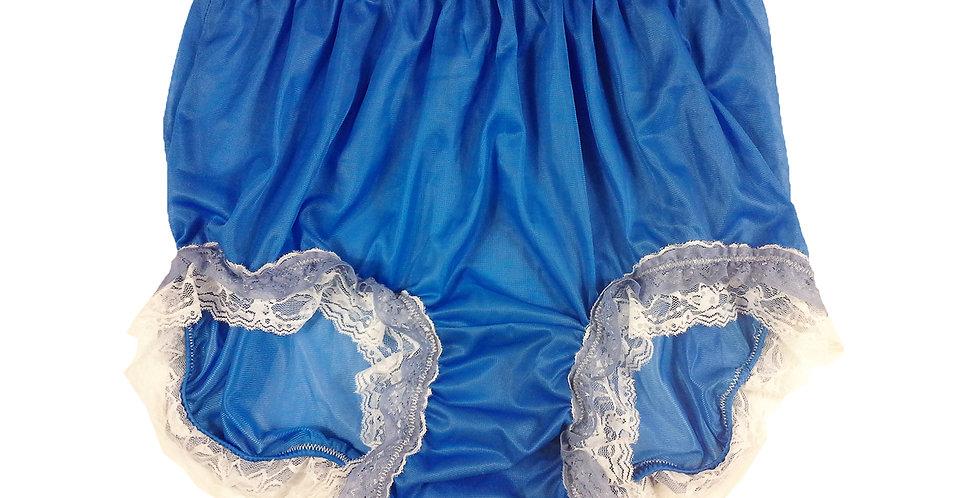 NNH05D02 Royal Blue Handmade Panties Lace Women Men Briefs Nylon Knickers