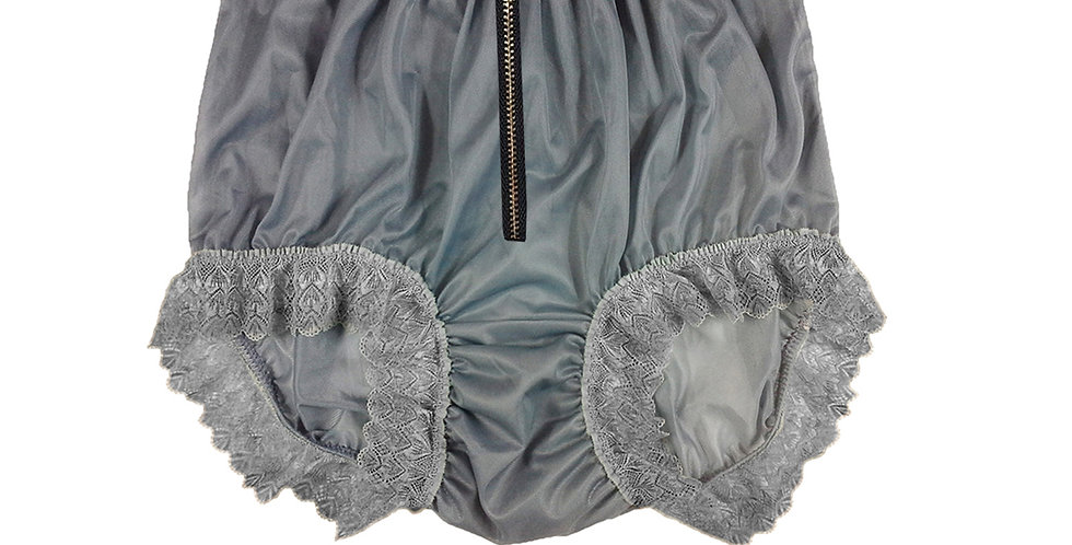 NNH19D01 Gray Grey Zipper Handmade Panties Lace Women Men Briefs Nylon Knickers