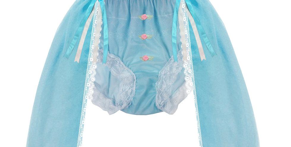 Blue Sheer Nylon Briefs Mens Panties Handmade Costume Cinderella Underwear