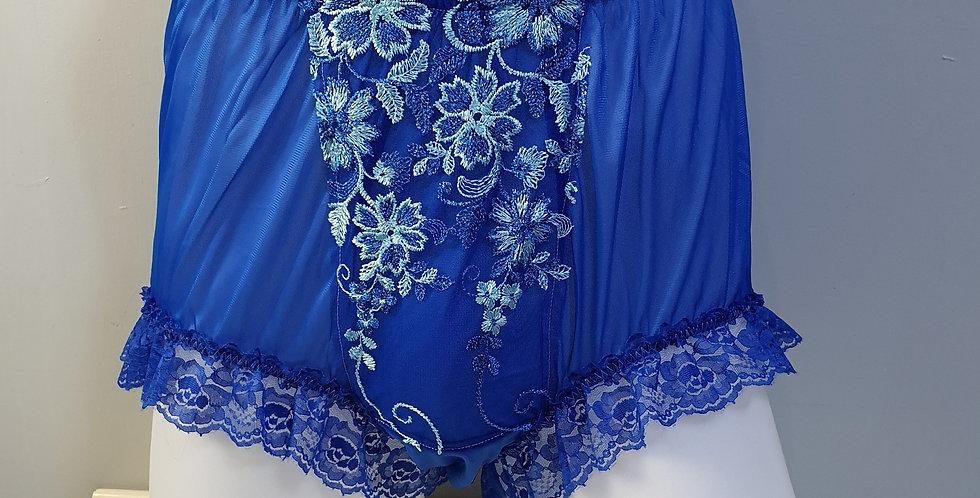 New Royal Blue Sissy Nylon Briefs Men Panel Lace Panties Handmade Knickers NPN03