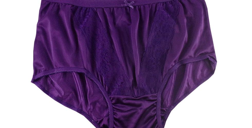 KJ02 Purple New Panties Granny Lace Briefs Nylon Underwear Men Women