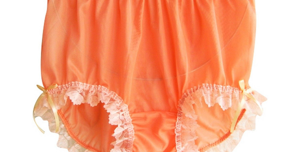New Orange Full Cut PlusSize Panties Nylon Brief Handmade Men Ribbon Lacy NVOD33