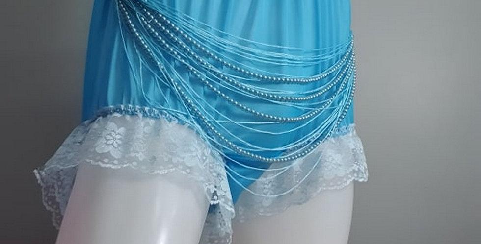 Light Blue nylon tulle panties Briefs bead Lacy Men Handmade Knickers NHSPD02