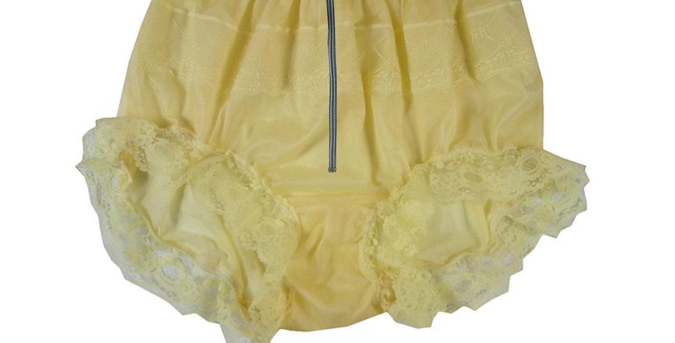 Yellow Open Crotch Lingerie Sexy Zipper Zip Panties Briefs Nylon Knickers Lace