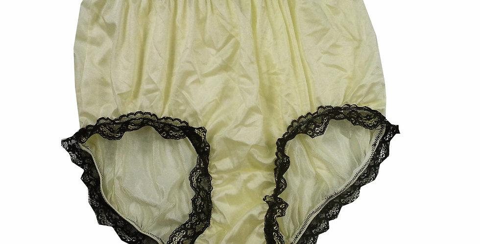 NQH08D13 Fair Yellow Panties Granny Briefs Nylon Handmade Lace Men Woman