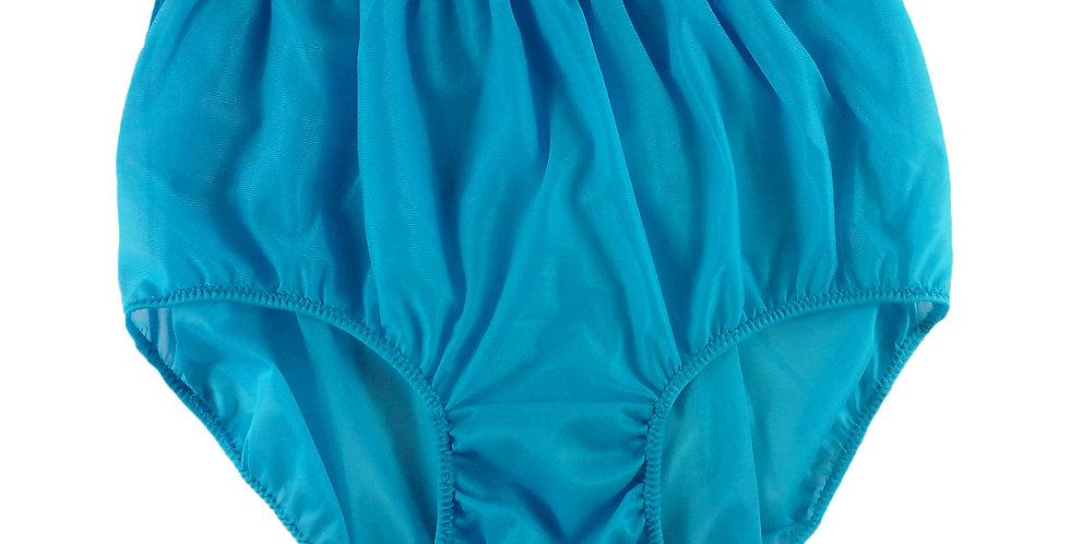 NN01 Light Blue Women Vintage Panties Granny HI-CUTS Briefs Sheer Nylon Knicker