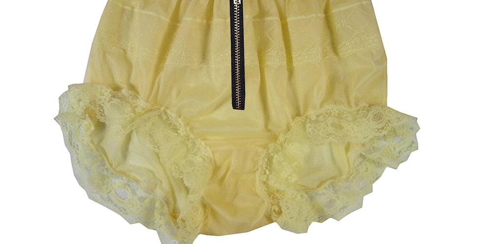 Yellow Open Crotch Zipper Panties Men Knickers Underwear Briefs Nylon Panty Lace