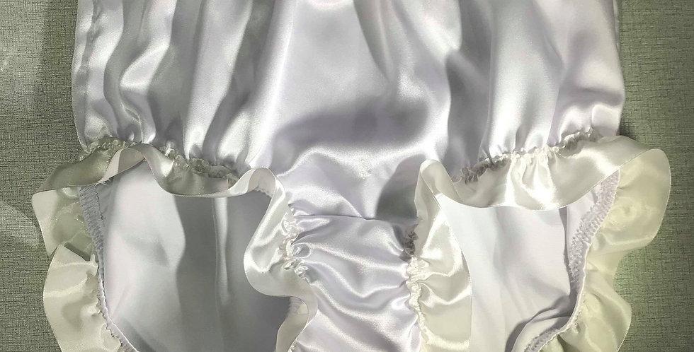 New Sissy White Bridal Satin Panties Knickers Briefs Men Lacy Handmade STRH01