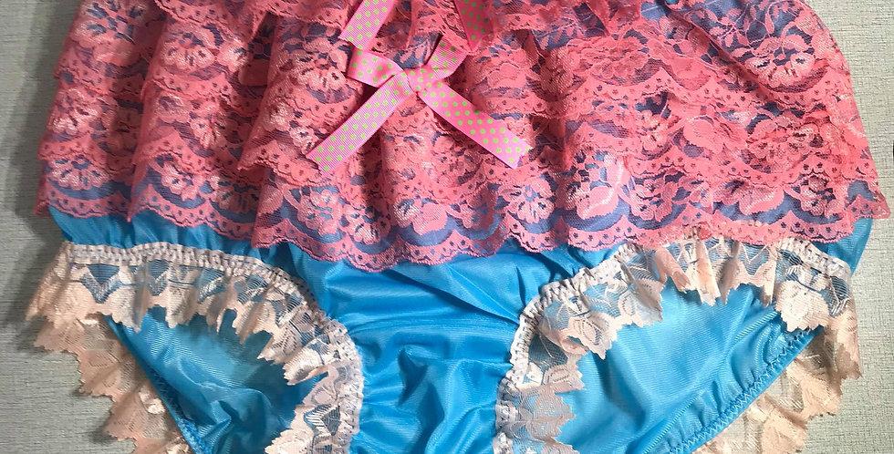 New Light Blue nylon underwear for men Panties Ruffle Briefs Lacy Handmade RTN22