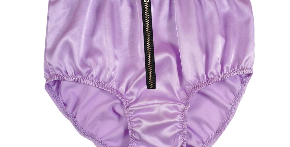 STPH03I06 Fair Purple Zipper New Satin Panties Women Men Briefs Knickers