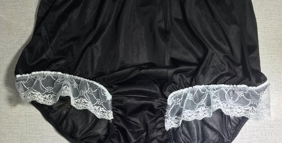Black Full Cut Underwear Nylon Briefs Panty Half Blue Lacy Men Handmade NRH09