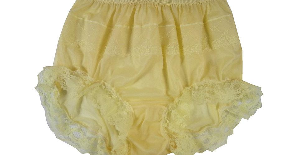 JYH04D08 yellow Handmade Nylon Panties Women Men Lace Knickers Briefs