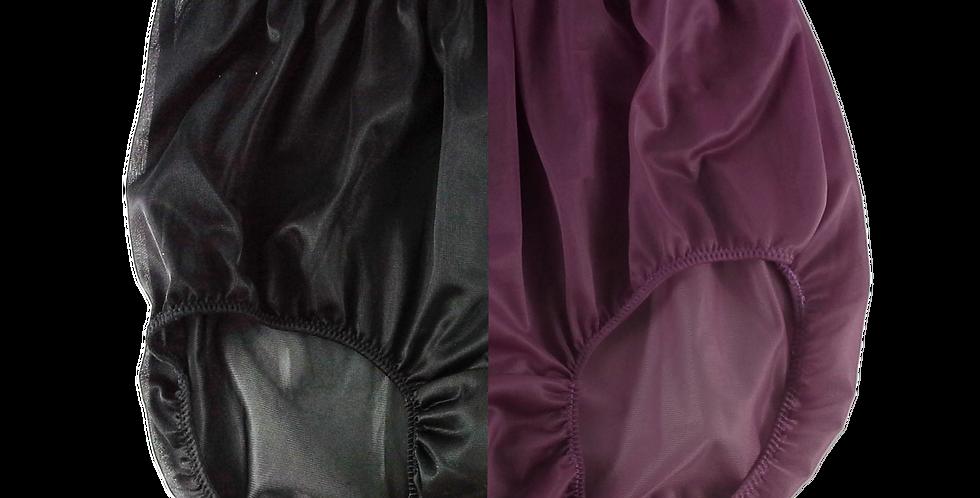 Black Deep Pink TWO TONE Full Cut Nylon Brief Panties Men Handmade Nbk+dp04